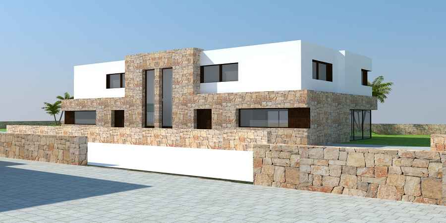 Plot with ready to go project of contemporary new development, four semi-detached villas in Cala Egos